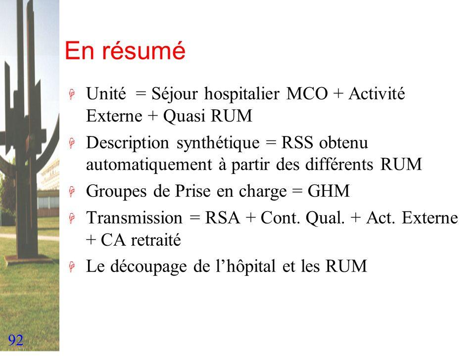 92 En résumé H Unité = Séjour hospitalier MCO + Activité Externe + Quasi RUM H Description synthétique = RSS obtenu automatiquement à partir des diffé