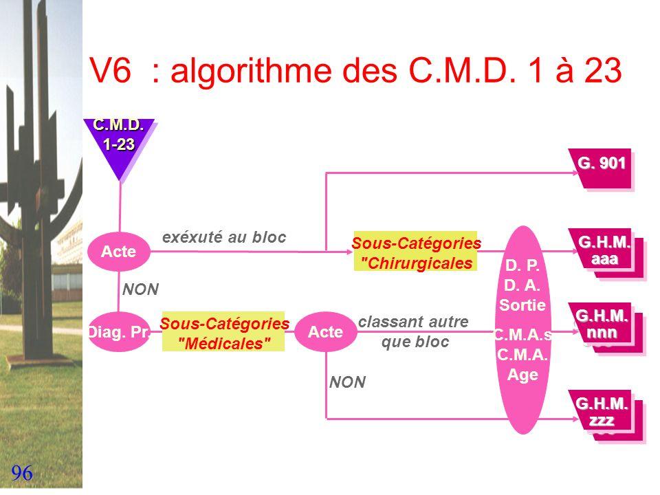 96 V6 : algorithme des C.M.D. 1 à 23 Acte exéxuté au bloc Diag. Pr. NON C.M.D.1-23C.M.D.1-23 Sous-Catégories