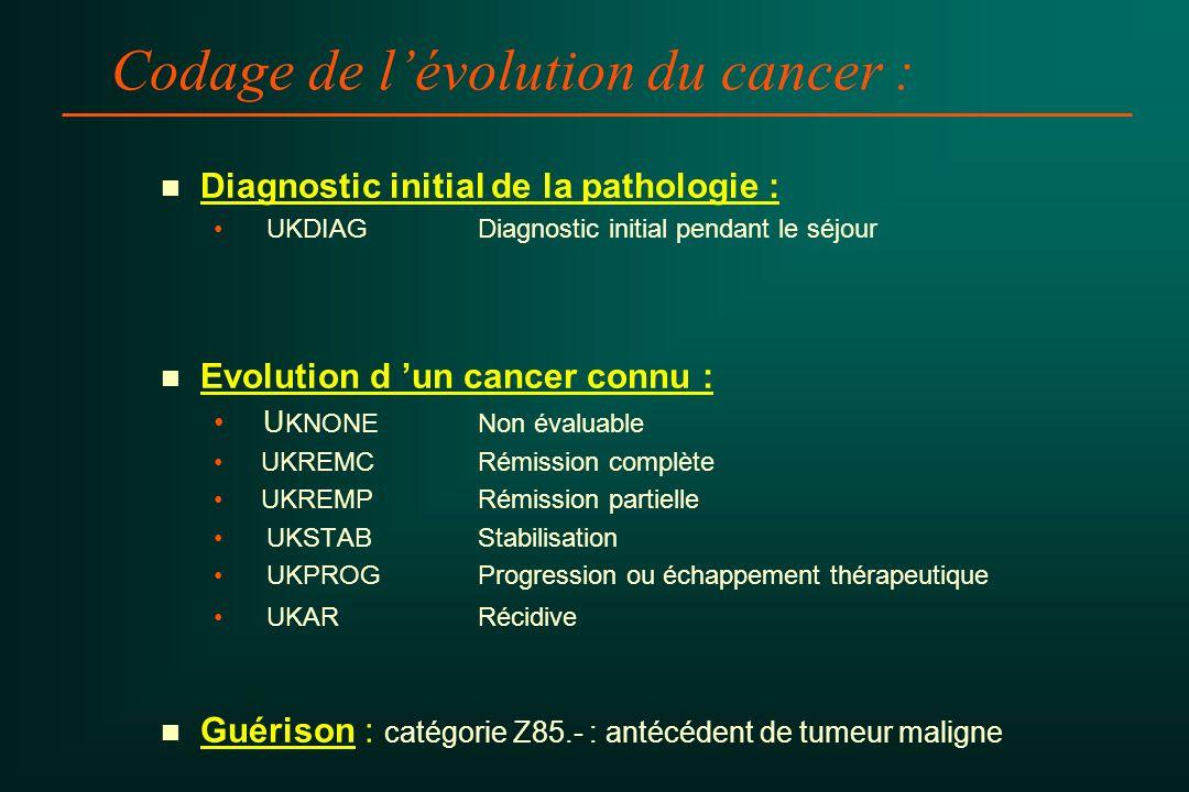 Codage de lévolution du cancer : n n Diagnostic initial de la pathologie : UKDIAGDiagnostic initial pendant le séjour n n Evolution d un cancer connu