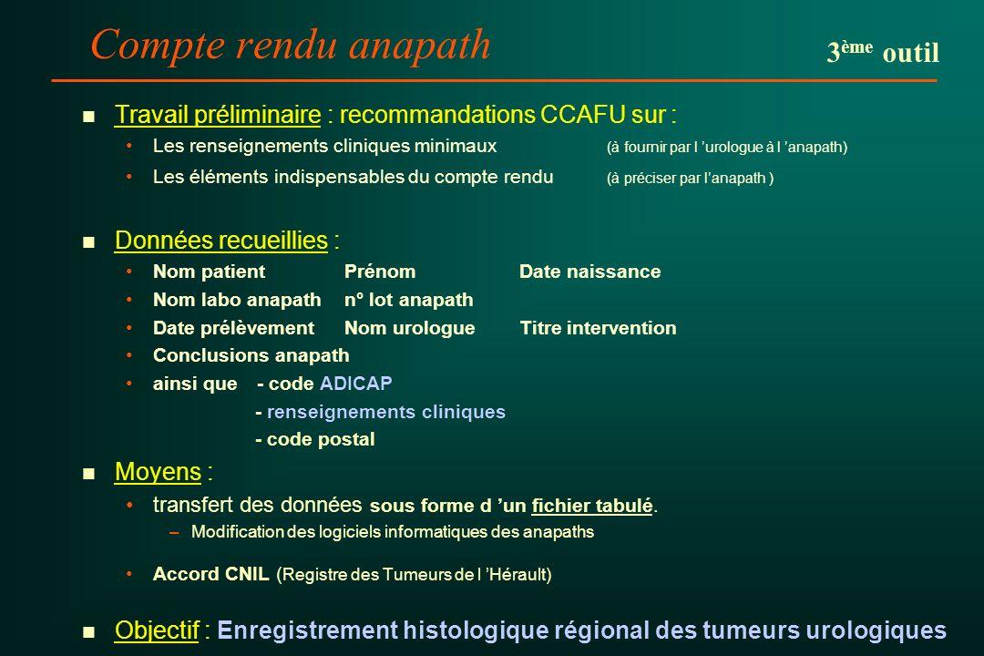 Compte rendu anapath n n Travail préliminaire : recommandations CCAFU sur : Les renseignements cliniques minimaux (à fournir par l urologue à l anapat