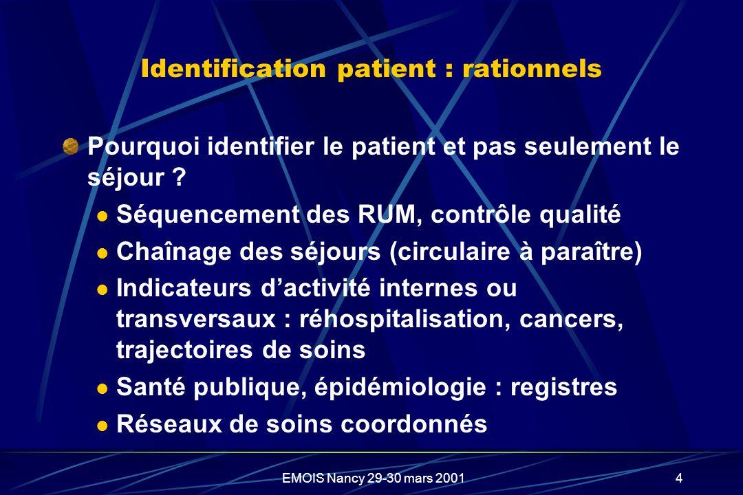 EMOIS Nancy 29-30 mars 20014 Identification patient : rationnels Pourquoi identifier le patient et pas seulement le séjour ? Séquencement des RUM, con