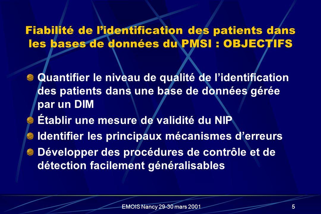 EMOIS Nancy 29-30 mars 20015 Fiabilité de lidentification des patients dans les bases de données du PMSI : OBJECTIFS Quantifier le niveau de qualité d