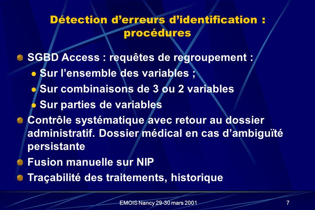 EMOIS Nancy 29-30 mars 20017 Détection derreurs didentification : procédures SGBD Access : requêtes de regroupement : Sur lensemble des variables ; Su