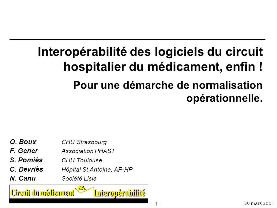 - 1 - 29 mars 2001 Interopérabilité des logiciels du circuit hospitalier du médicament, enfin ! Pour une démarche de normalisation opérationnelle. O.