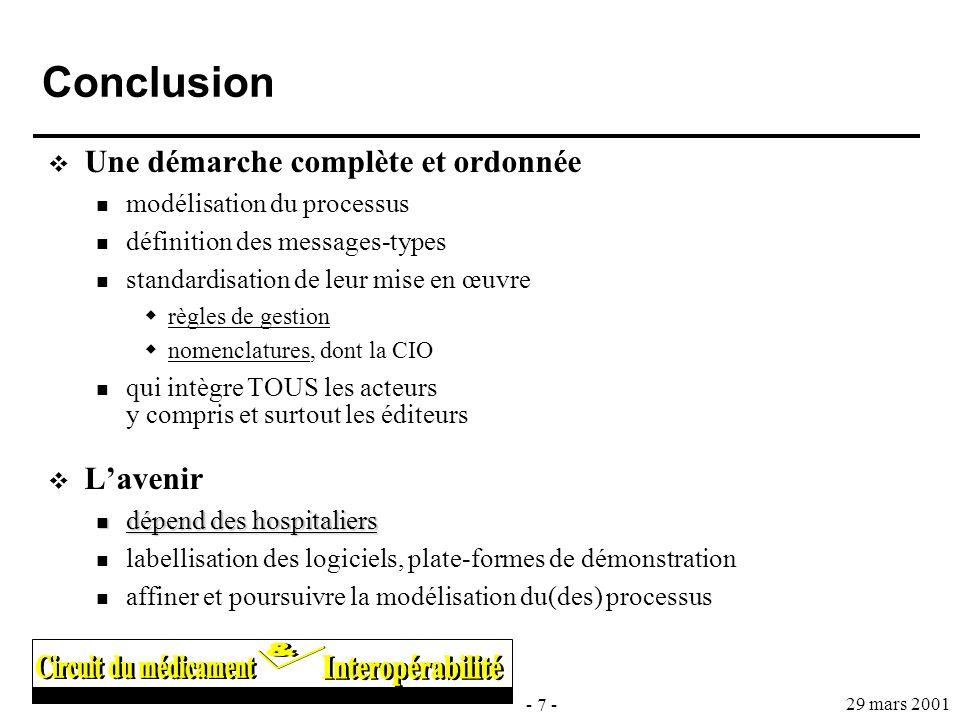 - 7 - 29 mars 2001 Conclusion Une démarche complète et ordonnée modélisation du processus définition des messages-types standardisation de leur mise e