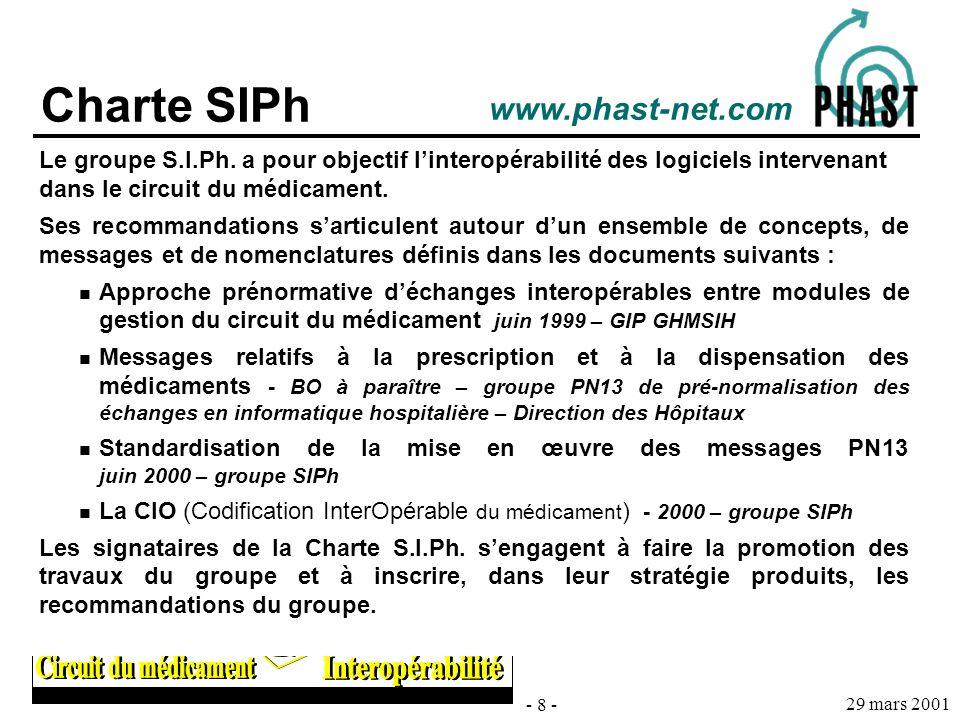 - 8 - 29 mars 2001 Charte SIPh Le groupe S.I.Ph. a pour objectif linteropérabilité des logiciels intervenant dans le circuit du médicament. Ses recomm