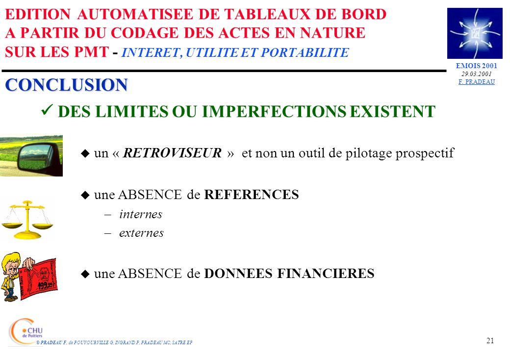 CONCLUSION DES LIMITES OU IMPERFECTIONS EXISTENT u un « RETROVISEUR » et non un outil de pilotage prospectif u une ABSENCE de REFERENCES –internes –externes u une ABSENCE de DONNEES FINANCIERES 21 EMOIS 200129.03.2001 F.