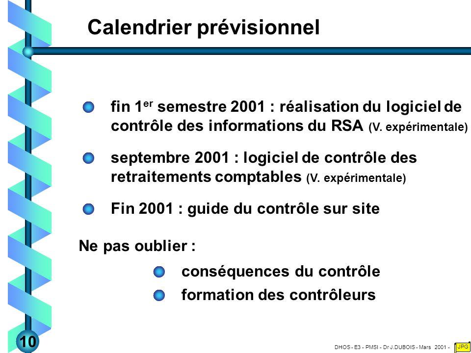 DHOS - E3 - PMSI - Dr J.DUBOIS - Mars 2001 - JPG Calendrier prévisionnel fin 1 er semestre 2001 : réalisation du logiciel de contrôle des informations du RSA (V.