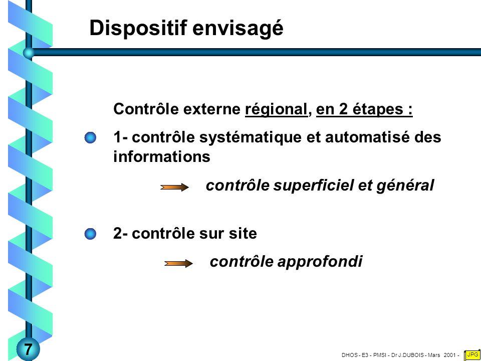 DHOS - E3 - PMSI - Dr J.DUBOIS - Mars 2001 - JPG Dispositif envisagé Contrôle externe régional, en 2 étapes : 1- contrôle systématique et automatisé des informations contrôle superficiel et général 2- contrôle sur site contrôle approfondi 7