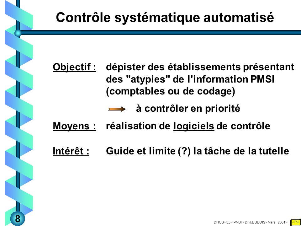 DHOS - E3 - PMSI - Dr J.DUBOIS - Mars 2001 - JPG Contrôle systématique automatisé dépister des établissements présentant des atypies de l information PMSI (comptables ou de codage) Objectif : réalisation de logiciels de contrôle Moyens : à contrôler en priorité Guide et limite (?) la tâche de la tutelle Intérêt : 8