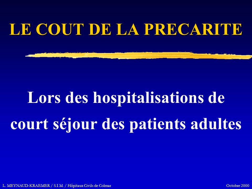 L. MEYNAUD-KRAEMER / S.I.M. / Hôpitaux Civils de Colmar Octobre 2000 LE COUT DE LA PRECARITE Lors des hospitalisations de court séjour des patients ad