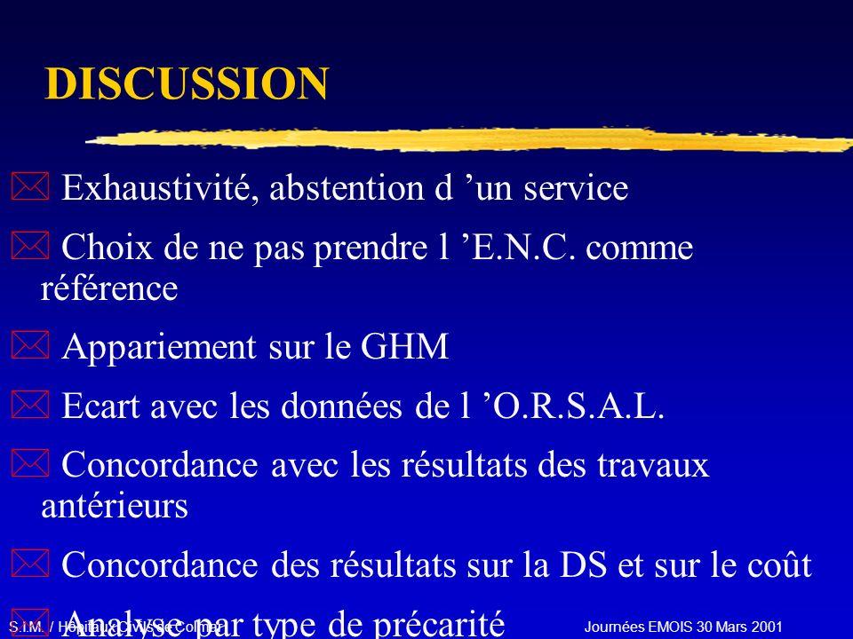 S.I.M. / Hôpitaux Civils de Colmar Journées EMOIS 30 Mars 2001 DISCUSSION * Exhaustivité, abstention d un service * Choix de ne pas prendre l E.N.C. c