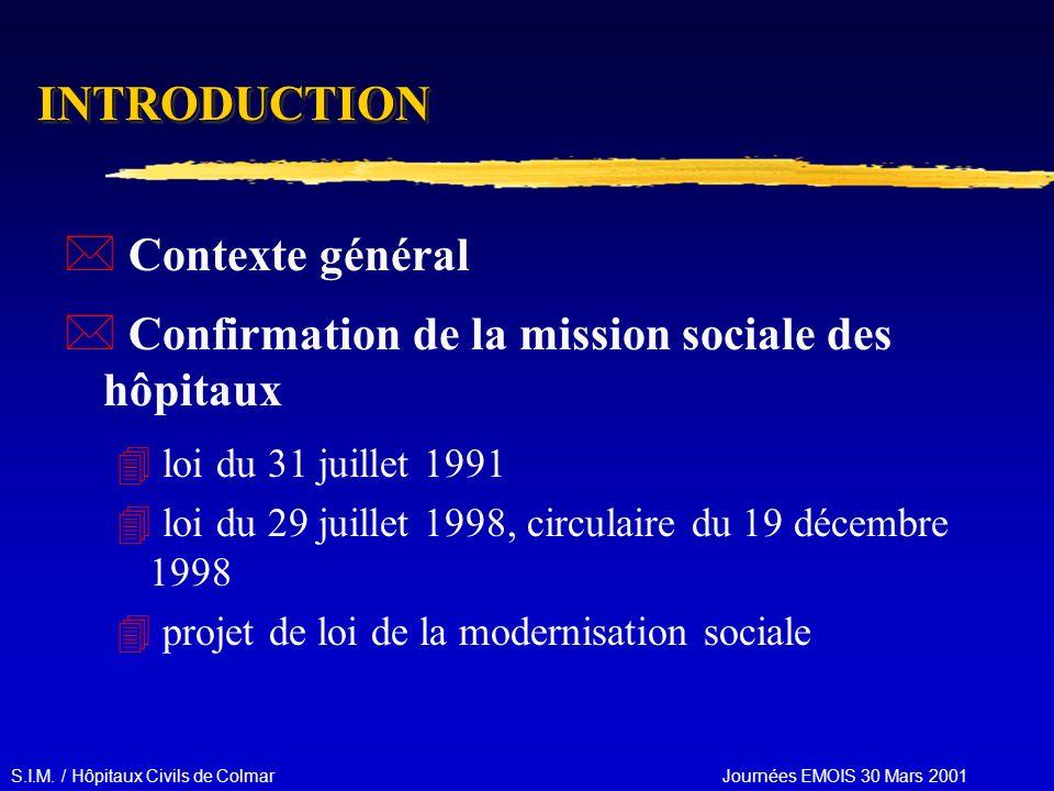 S.I.M. / Hôpitaux Civils de Colmar Journées EMOIS 30 Mars 2001 INTRODUCTIONINTRODUCTION * Contexte général * Confirmation de la mission sociale des hô