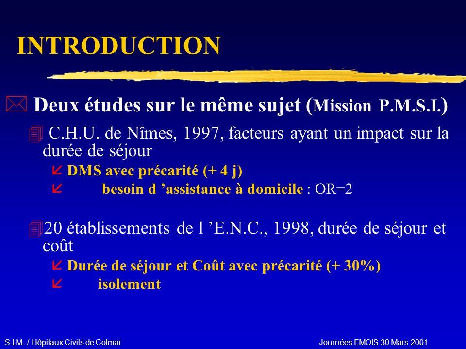 S.I.M. / Hôpitaux Civils de Colmar Journées EMOIS 30 Mars 2001 INTRODUCTION * Deux études sur le même sujet ( Mission P.M.S.I. ) 4 C.H.U. de Nîmes, 19