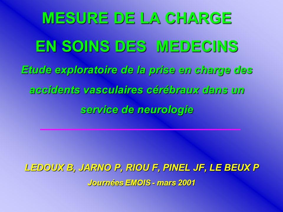 MESURE DE LA CHARGE EN SOINS DES MEDECINS Etude exploratoire de la prise en charge des accidents vasculaires cérébraux dans un service de neurologie L