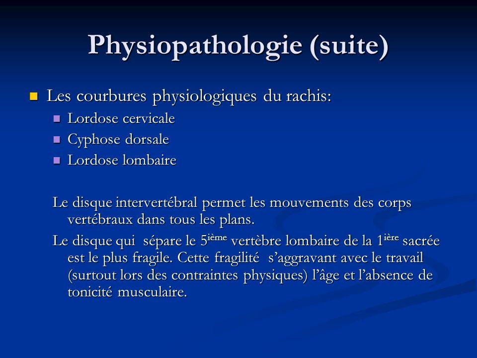 Physiopathologie (suite) Les courbures physiologiques du rachis: Les courbures physiologiques du rachis: Lordose cervicale Lordose cervicale Cyphose d