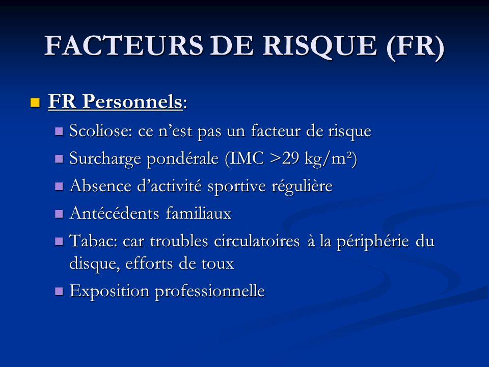 FACTEURS DE RISQUE (FR) FR Personnels: FR Personnels: Scoliose: ce nest pas un facteur de risque Scoliose: ce nest pas un facteur de risque Surcharge