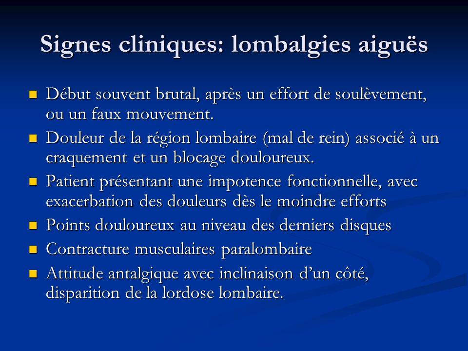 Signes cliniques: lombalgies aiguës Début souvent brutal, après un effort de soulèvement, ou un faux mouvement. Début souvent brutal, après un effort