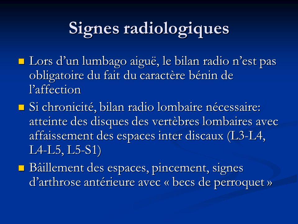 Signes radiologiques Lors dun lumbago aiguë, le bilan radio nest pas obligatoire du fait du caractère bénin de laffection Lors dun lumbago aiguë, le b