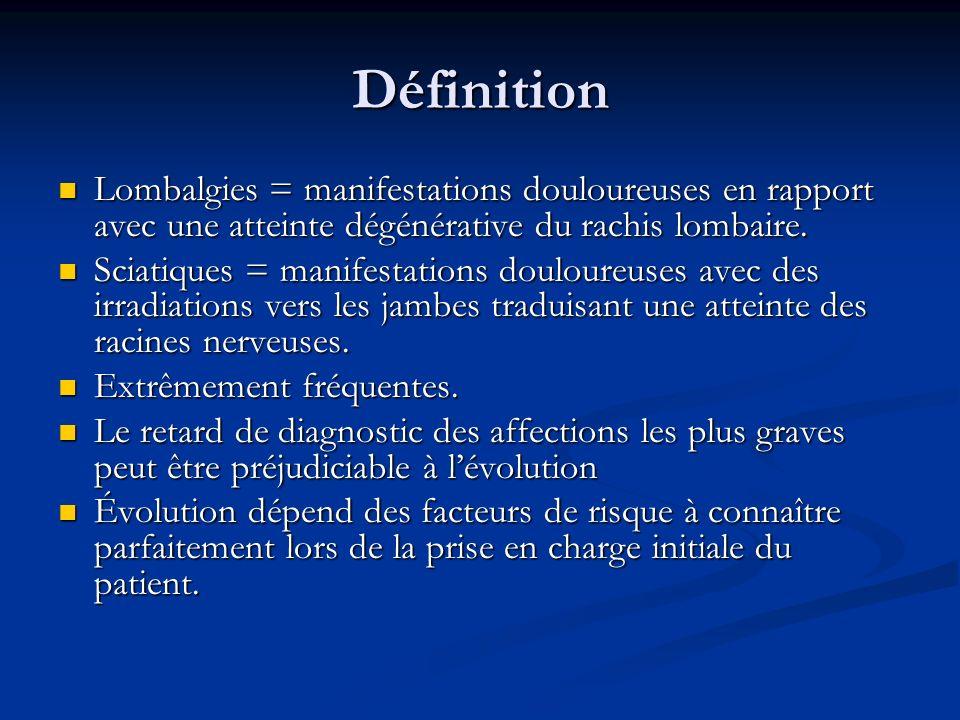 Définition Lombalgies = manifestations douloureuses en rapport avec une atteinte dégénérative du rachis lombaire. Lombalgies = manifestations douloure