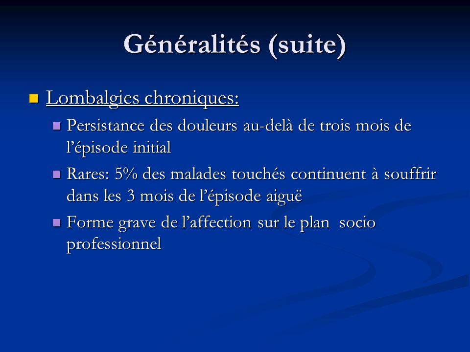 Généralités (suite) Lombalgies chroniques: Lombalgies chroniques: Persistance des douleurs au-delà de trois mois de lépisode initial Persistance des d