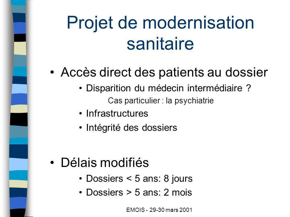 EMOIS - 29-30 mars 2001 Projet de modernisation sanitaire Accès direct des patients au dossier Disparition du médecin intermédiaire .