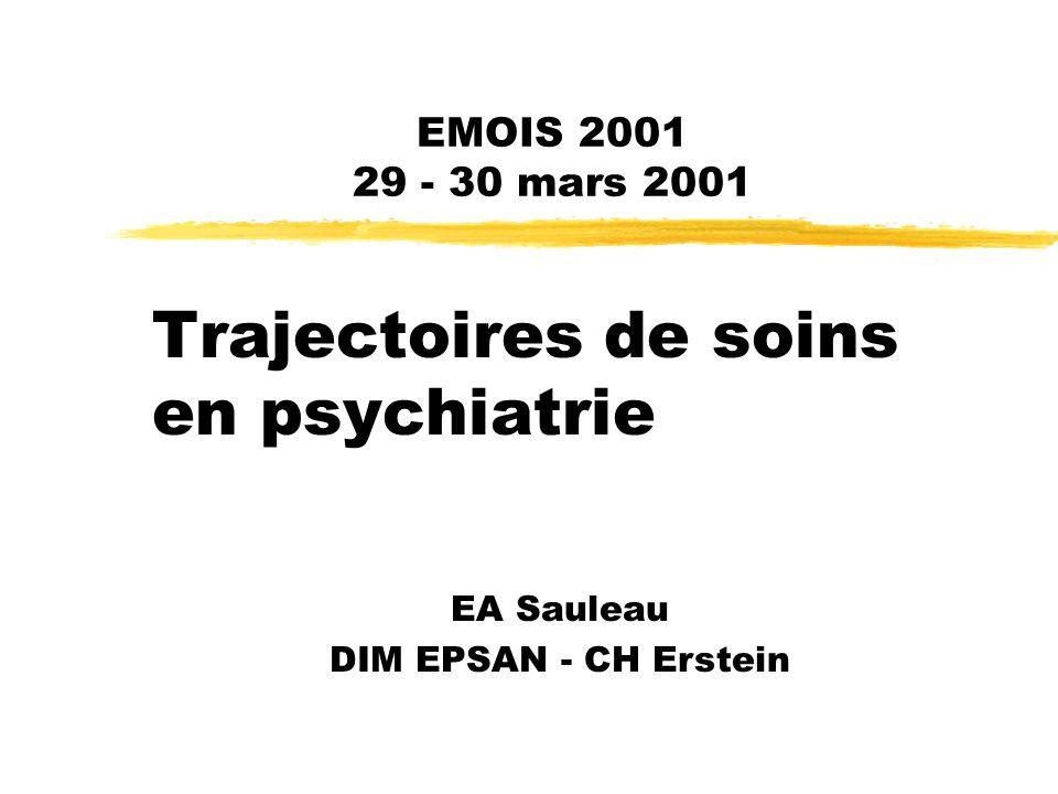 29-30 mars 2001EMOIS 20012 Introduction zPMSI « transversal » yGénéralisation 01/01/2002 yFondement du recueil « trajectoires » zIntérêt des trajectoires yMédical yEconomique