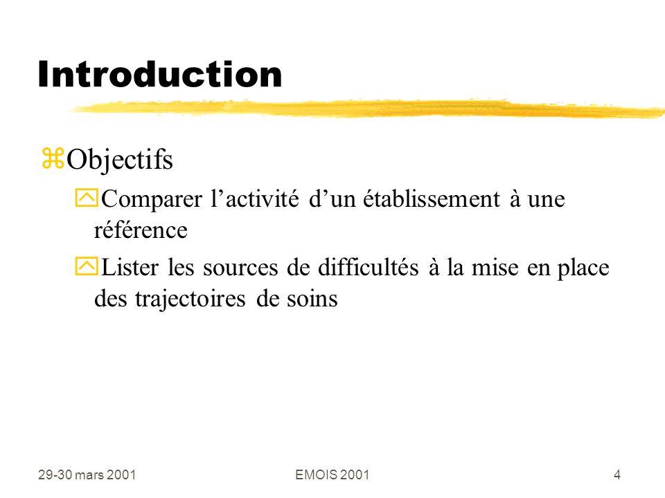 29-30 mars 2001EMOIS 20014 Introduction zObjectifs yComparer lactivité dun établissement à une référence yLister les sources de difficultés à la mise en place des trajectoires de soins