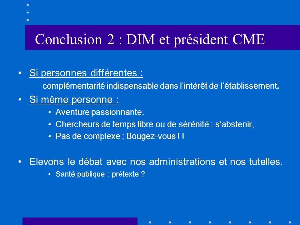 Conclusion 2 : DIM et président CME Si personnes différentes : complémentarité indispensable dans lintérêt de létablissement.
