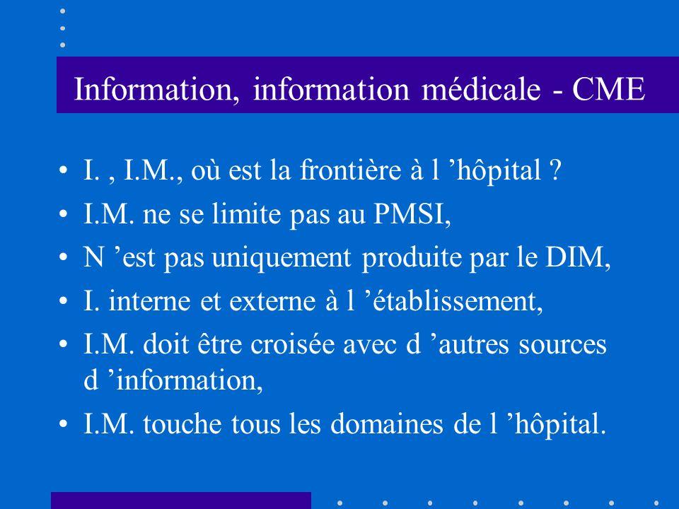 Information, information médicale - CME I., I.M., où est la frontière à l hôpital .