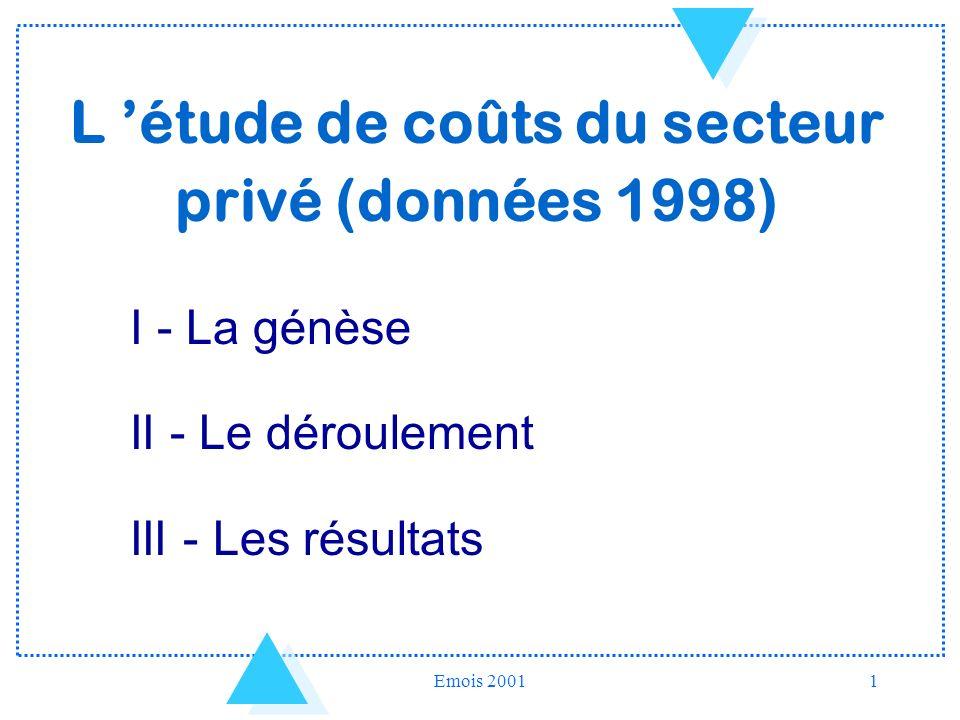 Emois 20011 L étude de coûts du secteur privé (données 1998) I - La génèse II - Le déroulement III - Les résultats