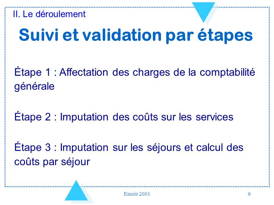 Emois 20016 Suivi et validation par étapes Étape 1 : Affectation des charges de la comptabilité générale Étape 2 : Imputation des coûts sur les servic
