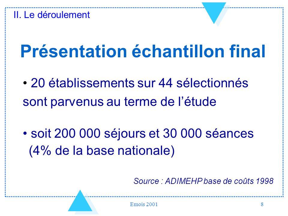 Emois 20018 Présentation échantillon final 20 établissements sur 44 sélectionnés sont parvenus au terme de létude soit 200 000 séjours et 30 000 séanc