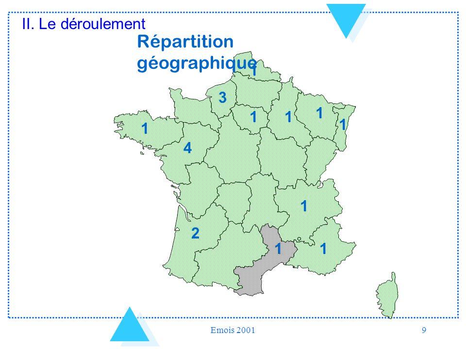 Emois 20019 11 3 1 1 1 4 1 2 1 11 Répartition géographique II. Le déroulement