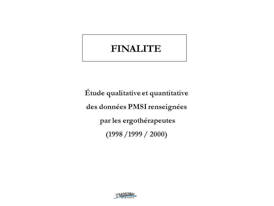 FINALITE Étude qualitative et quantitative des données PMSI renseignées par les ergothérapeutes (1998 /1999 / 2000)