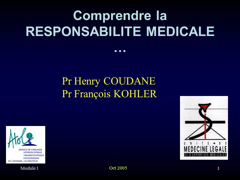 Module 1 Oct 2005 1 Comprendre la RESPONSABILITE MEDICALE … Pr Henry COUDANE Pr François KOHLER