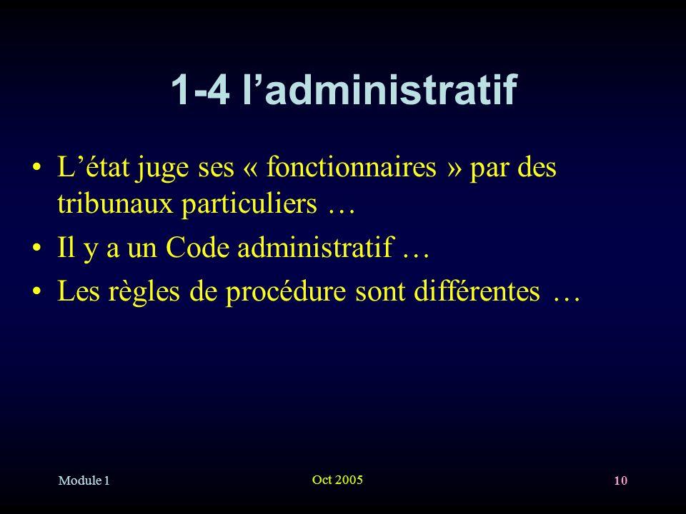 Module 1 Oct 2005 10 1-4 ladministratif Létat juge ses « fonctionnaires » par des tribunaux particuliers … Il y a un Code administratif … Les règles de procédure sont différentes …