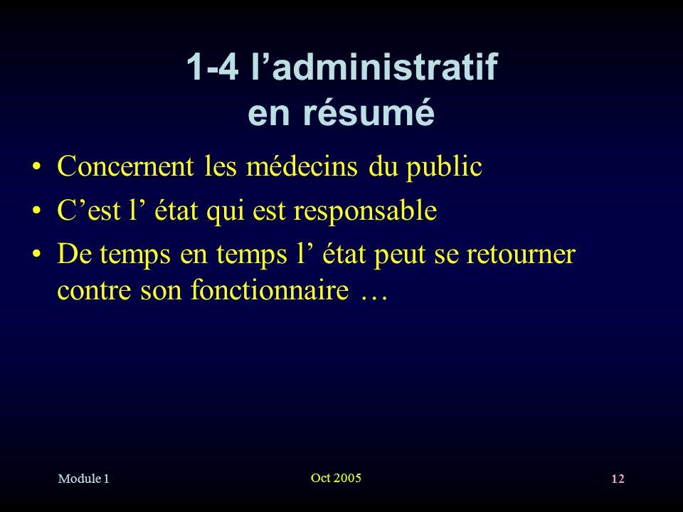 Module 1 Oct 2005 12 1-4 ladministratif en résumé Concernent les médecins du public Cest l état qui est responsable De temps en temps l état peut se retourner contre son fonctionnaire …
