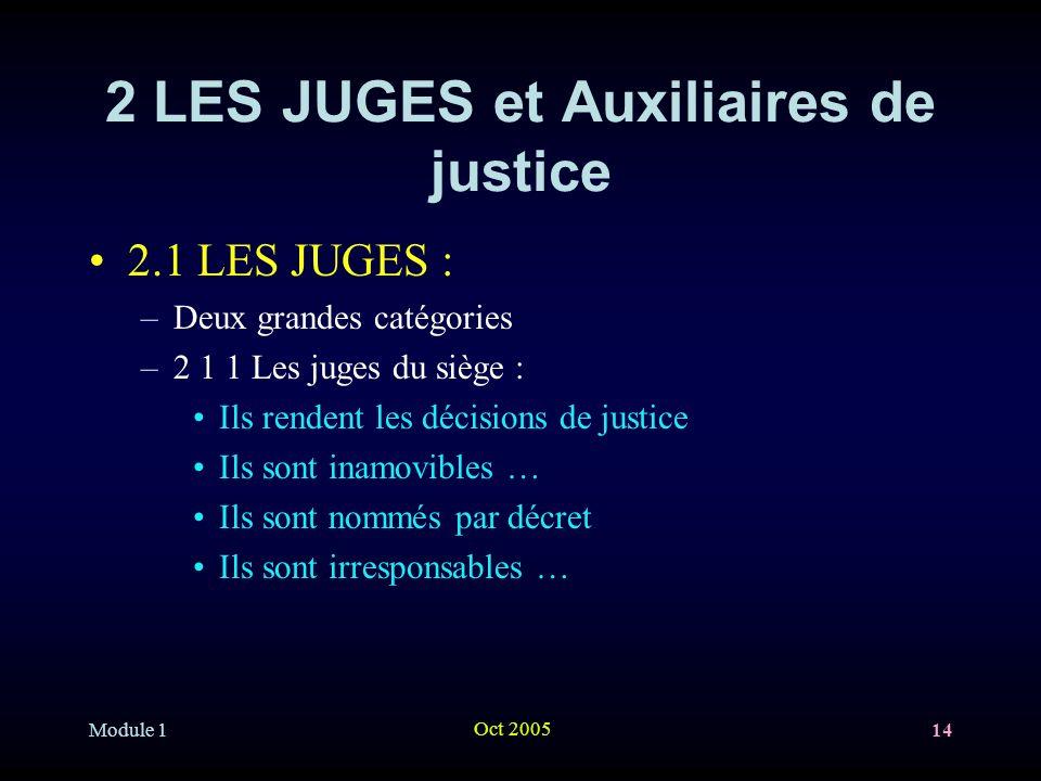 Module 1 Oct 2005 14 2 LES JUGES et Auxiliaires de justice 2.1 LES JUGES : –Deux grandes catégories –2 1 1 Les juges du siège : Ils rendent les décisions de justice Ils sont inamovibles … Ils sont nommés par décret Ils sont irresponsables …