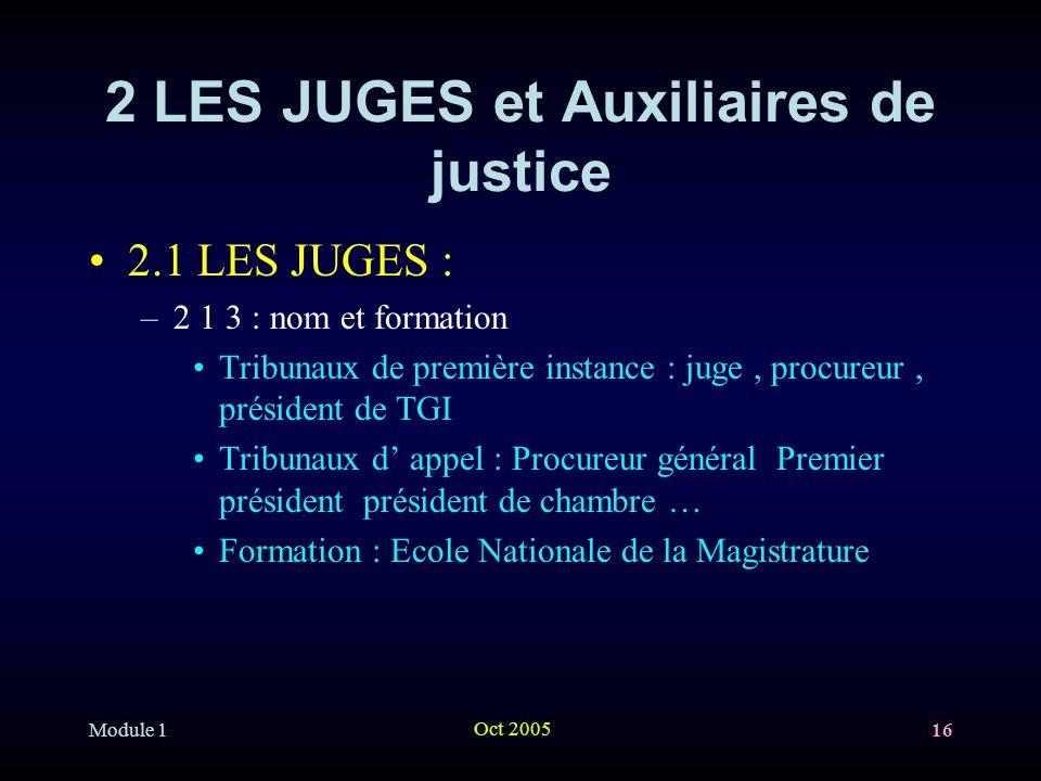 Module 1 Oct 2005 16 2 LES JUGES et Auxiliaires de justice 2.1 LES JUGES : –2 1 3 : nom et formation Tribunaux de première instance : juge, procureur,