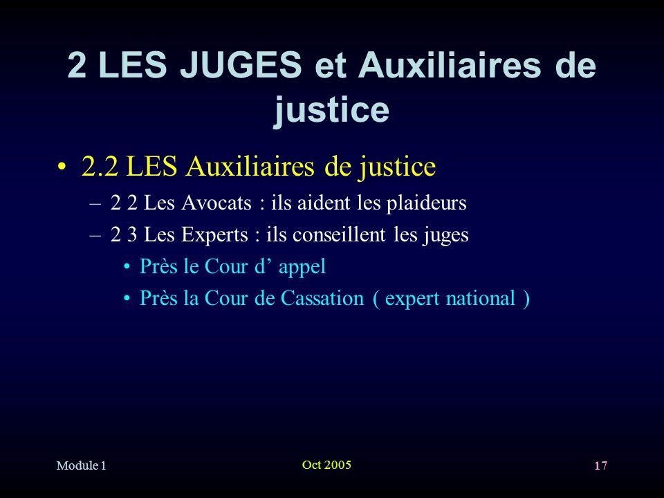 Module 1 Oct 2005 17 2 LES JUGES et Auxiliaires de justice 2.2 LES Auxiliaires de justice –2 2 Les Avocats : ils aident les plaideurs –2 3 Les Experts : ils conseillent les juges Près le Cour d appel Près la Cour de Cassation ( expert national )