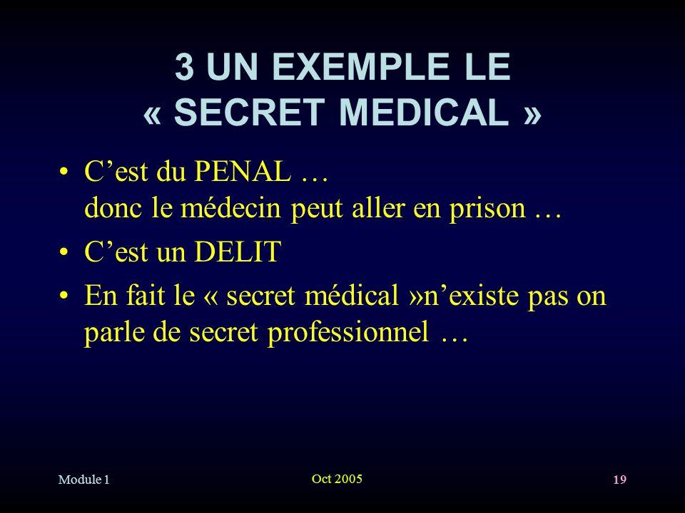 Module 1 Oct 2005 19 3 UN EXEMPLE LE « SECRET MEDICAL » Cest du PENAL … donc le médecin peut aller en prison … Cest un DELIT En fait le « secret médical »nexiste pas on parle de secret professionnel …