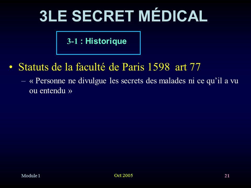Module 1 Oct 2005 21 3LE SECRET MÉDICAL Statuts de la faculté de Paris 1598 art 77 –« Personne ne divulgue les secrets des malades ni ce quil a vu ou entendu » 3-1 : Historique