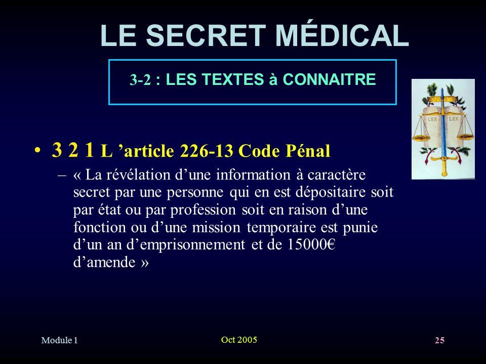Module 1 Oct 2005 25 LE SECRET MÉDICAL 3 2 1 L article 226-13 Code Pénal –« La révélation dune information à caractère secret par une personne qui en est dépositaire soit par état ou par profession soit en raison dune fonction ou dune mission temporaire est punie dun an demprisonnement et de 15000 damende » 3-2 : LES TEXTES à CONNAITRE