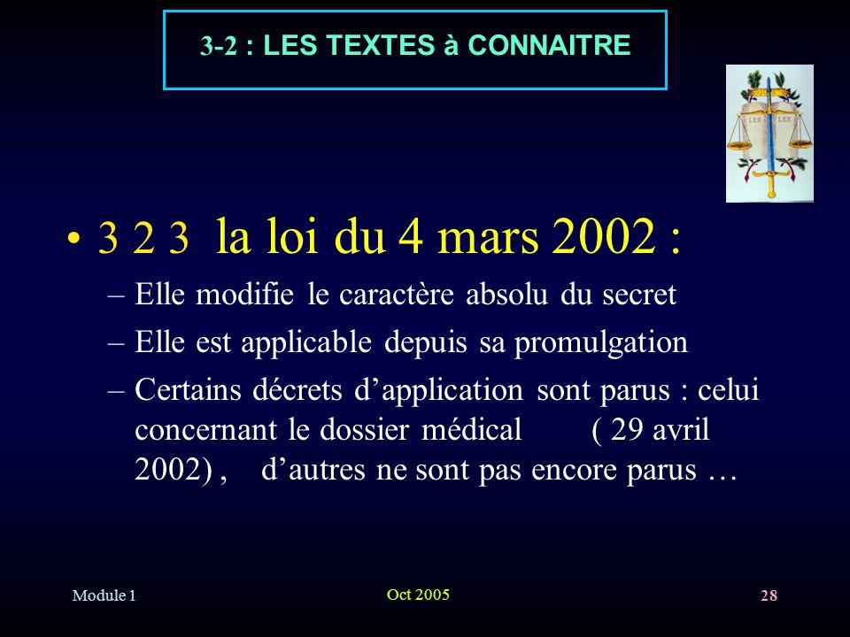 Module 1 Oct 2005 28 3 2 3 la loi du 4 mars 2002 : –Elle modifie le caractère absolu du secret –Elle est applicable depuis sa promulgation –Certains d