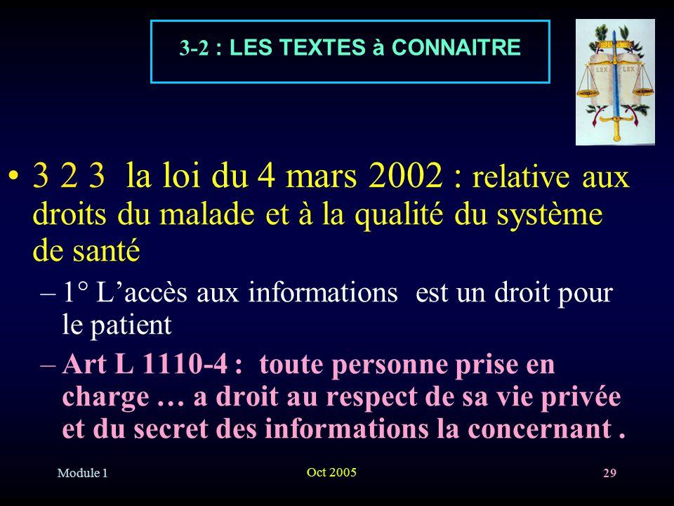Module 1 Oct 2005 29 3 2 3 la loi du 4 mars 2002 : relative aux droits du malade et à la qualité du système de santé –1° Laccès aux informations est u