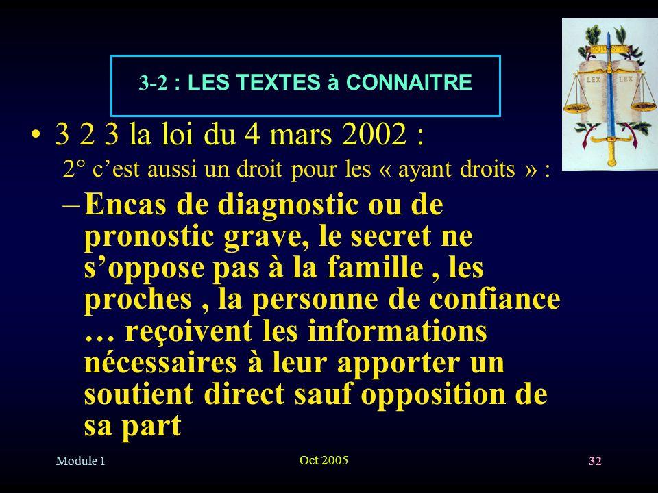 Module 1 Oct 2005 32 3 2 3 la loi du 4 mars 2002 : 2° cest aussi un droit pour les « ayant droits » : –Encas de diagnostic ou de pronostic grave, le s
