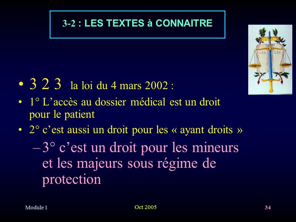Module 1 Oct 2005 34 3 2 3 la loi du 4 mars 2002 : 1° Laccès au dossier médical est un droit pour le patient 2° cest aussi un droit pour les « ayant droits » –3° cest un droit pour les mineurs et les majeurs sous régime de protection 3-2 : LES TEXTES à CONNAITRE