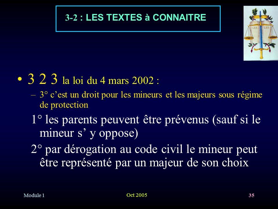 Module 1 Oct 2005 35 3 2 3 la loi du 4 mars 2002 : –3° cest un droit pour les mineurs et les majeurs sous régime de protection 1° les parents peuvent