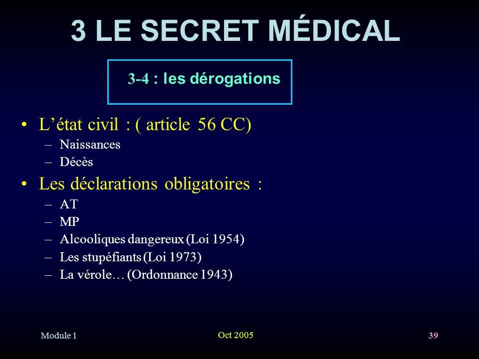 Module 1 Oct 2005 39 3 LE SECRET MÉDICAL Létat civil : ( article 56 CC) –Naissances –Décès Les déclarations obligatoires : –AT –MP –Alcooliques danger